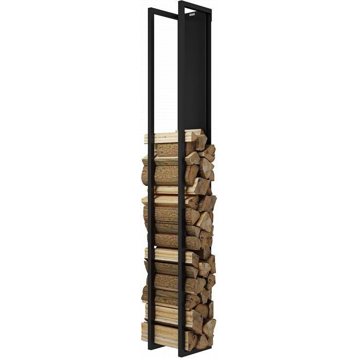 Rais Woodwall vegghengt vedholder H190 cm svart