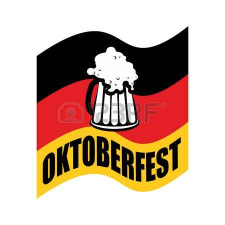 jarra de cerveza en el fondo de la bandera alemana. Fflag es un símbolo de la Oktoberfest. ilustración vectorial