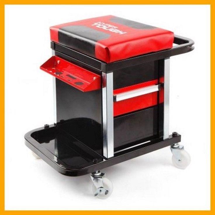 Tool Box Rolling Creeper Seat Mechanics Organizer Cart 2-Drawers Wheels Tray NEW #HyperTough