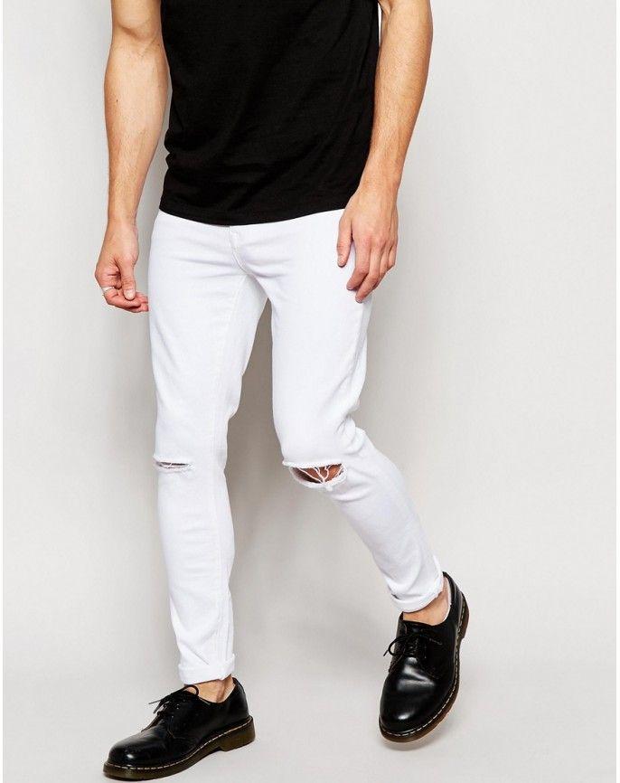 Pantalon Denim Skinny Fit Color Blanco Rotos En Las Rodillas Confeccionado En Espana Cierr Jeans Blancos Hombre Vaqueros Hombre Pantalones Vaqueros Blancos