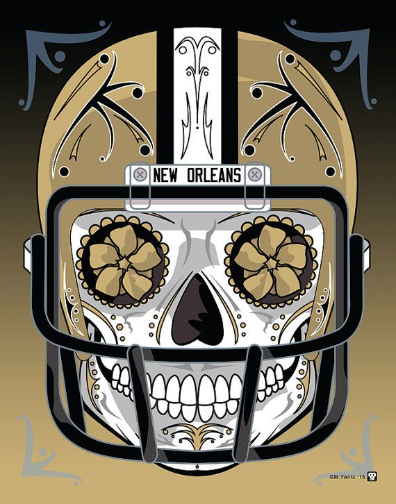 """New Orleans Saints"" Sugar Skull Day of the Dead Calavera Print Inspired by the professional football team"