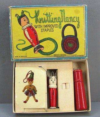 Vintage Knitting Nancy Wood Spool Doll Knitter in Box Spear Games England