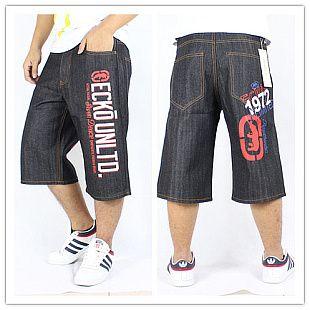 Джинсы часы! Дешевые мода люксовый бренд хип-хоп штаны короткий красный и белый с рисунком письма печатаются пант хип-хоп брюки