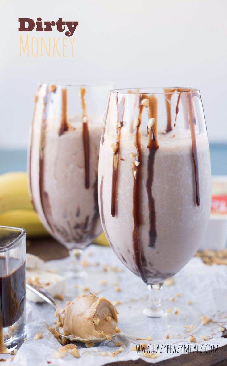 The Dirty Monkey is a protein packed chocolate and peanut butter shake that is creamy enough to be a milkshake, and healthy enough to eat for breakfast! Dirty Monkey: Chocolate Peanut Butter Banana Protein Shake #ad -Eazy Peazy Mealz