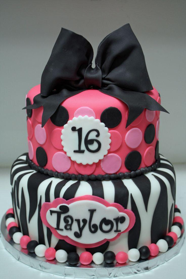 Zebra & hot pink sweet 16 cake - Frosted Bake Shop.