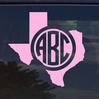 Custom texas circle monogram die cut decal sticker