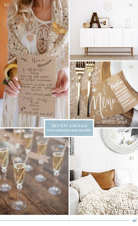 cosy naturals and sparkles | Seven Swans Wedding Stationery