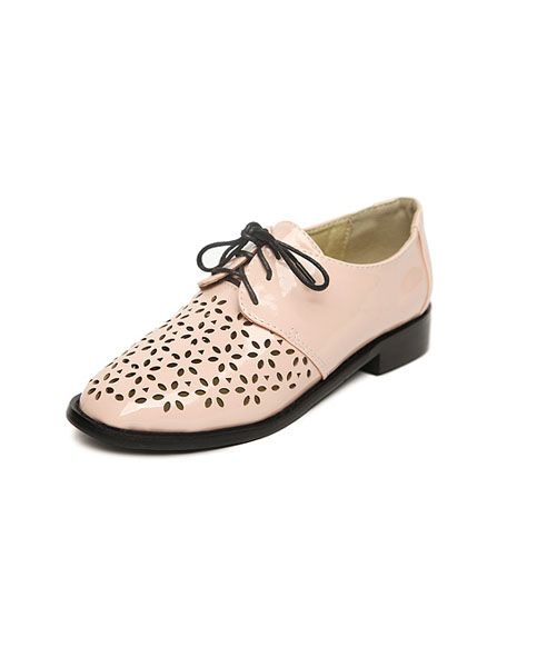 Pink Vintage PU Cut Out Brogues