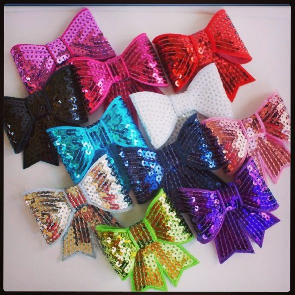 Sequin rainbow bows
