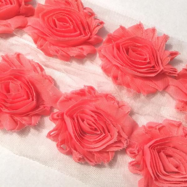 """Salmon pink 2.5"""" shabby chiffon rose trim. For headband making, barefoot baby sandals, sewing. Fold over elastic, rhinestones, appliqués & more also available."""