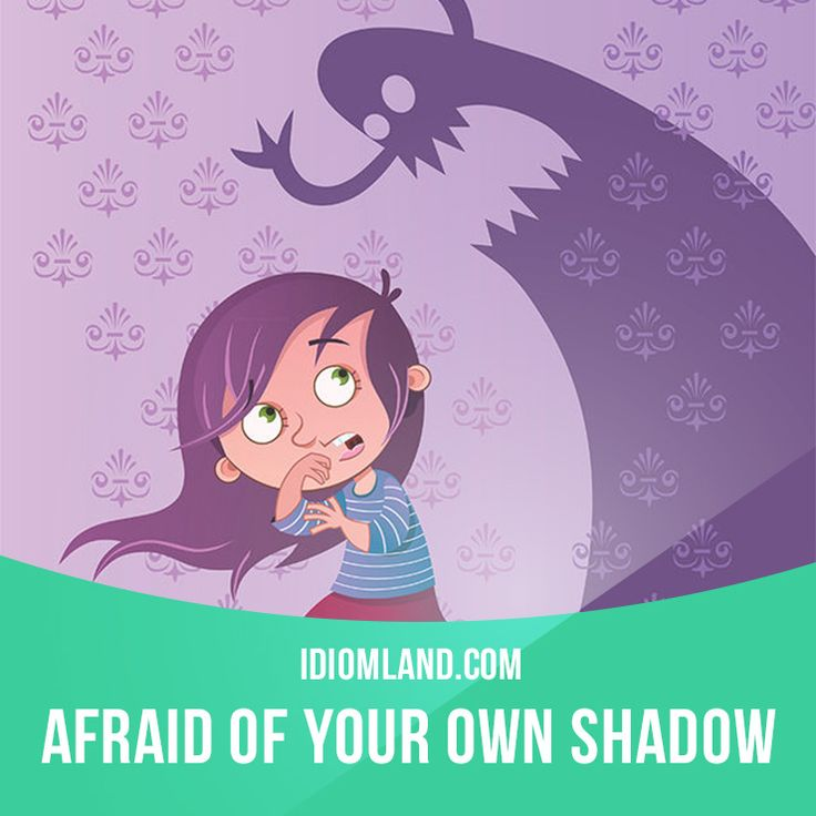 """""""Afraid of your own shadow"""" means """"easily frightened"""". Example: After Tom was robbed on the street, he was afraid of his own shadow."""