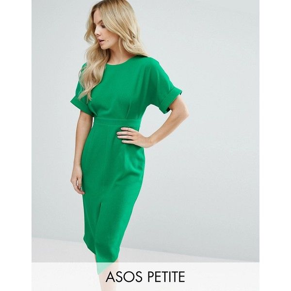 ASOS PETITE Smart Woven Dress with V Back and Split Front (£51) ❤ liked on Polyvore featuring dresses, green, petite, slim fit dress, green dress, asos, slimming dresses and braid dress