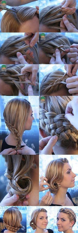 Braided side bun. I have to learn the 5 strand braid!