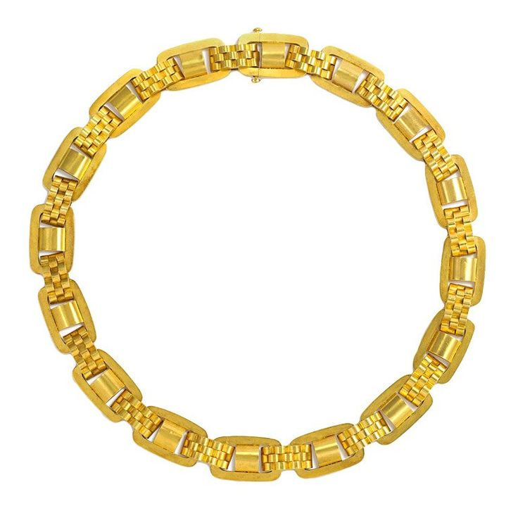 Antique Gold Collar Necklace | From a unique collection of vintage link necklaces at https://www.1stdibs.com/jewelry/necklaces/link-necklaces/