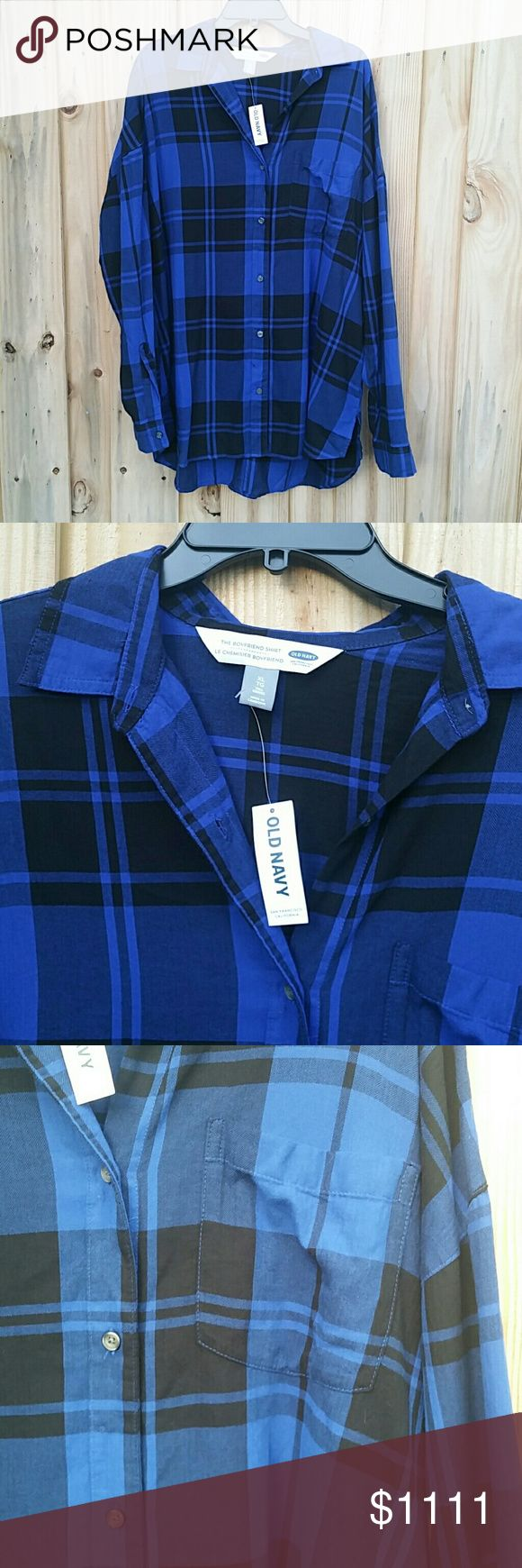 48HRSALE NWT Old Navy Boyfriend Flannel XL Tall New with tags - oversized slouchy long - XL Tall - blue and black Old Navy Tops Tunics