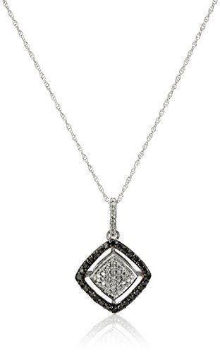 "10k White Gold Black and White Diamond (1/7cttw) Square Pendant Necklace, 18"" Amazon Collection http://smile.amazon.com/dp/B00KTA4DDQ/ref=cm_sw_r_pi_dp_WAQrvb1AW0PY4"