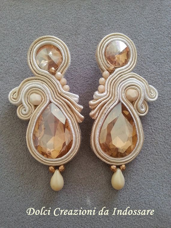 soutache earring champagne colour by DolciCreazionidiAry on Etsy