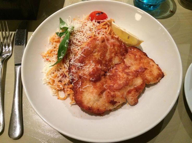 Chicken escalope with tomato pasta