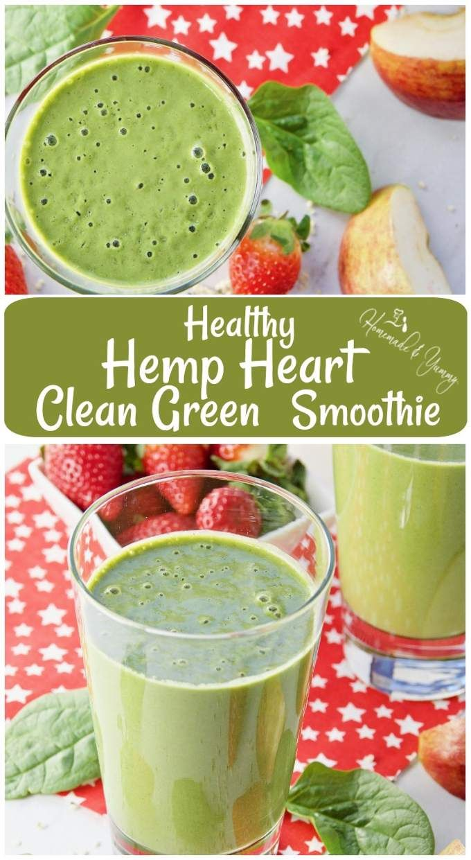 Healthy Hemp Heart Clean Green Smoothie. Gluten free, dairy free and sugar free. Nutritious, delicious and easy as 1-2-3!! #homemadeandyummy #smoothierecipes #hemphearts #healthy #cleaneating | homemadeandyummy.com