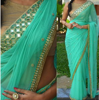 NEW LATEST SKY COLOR PURE NAYLONE GEORGET EMBROIDERY WORK SAREE Sarees on Shimply.com