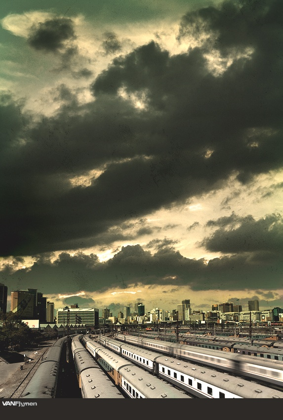 Taken from the Nelson Mandela bridge in Braamfontein this is is a beautiful shot of Johannesburg's diverse city skyscape. There's also a serious dose of #cloudporn happening here! [Source: futuresport.deviantart.com] #pinyourcity