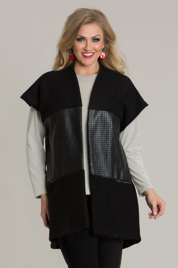 6618 Square Leather Trim Vest - Create a leather look for winter, with this Square Leather Trim Vest by Swish Fashion. Beautiful and warm, with wonderful leather detailing, this vest is a must-have for winter. Features an open design, with length sit mid-thigh and cap-sleeves to finish.