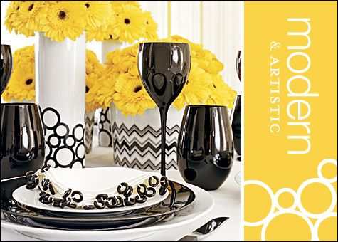 black and white patterns with a solid color or mixed solid colorsGoogle Image, Colors Combos, Black White Yellow, Tables Sets, Black And White, Image Results, Beautiful Combinations, Receptions Style, Wedding Flower