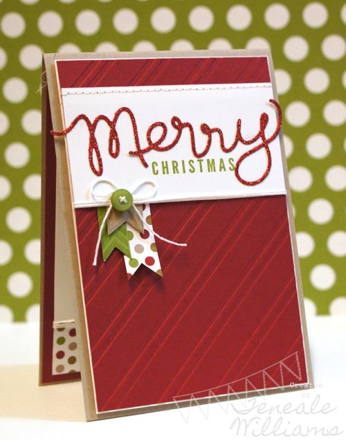 "Love the sparkly ""merry"" cut out with the Expressions Thinlits.Christmas Cards, Stamp Sets, Cards Ideas, Banners Christmas, Stamps Sets, Express Thinlits, Teneale Williams, Stampin Up Christmas, Merry Christmas"