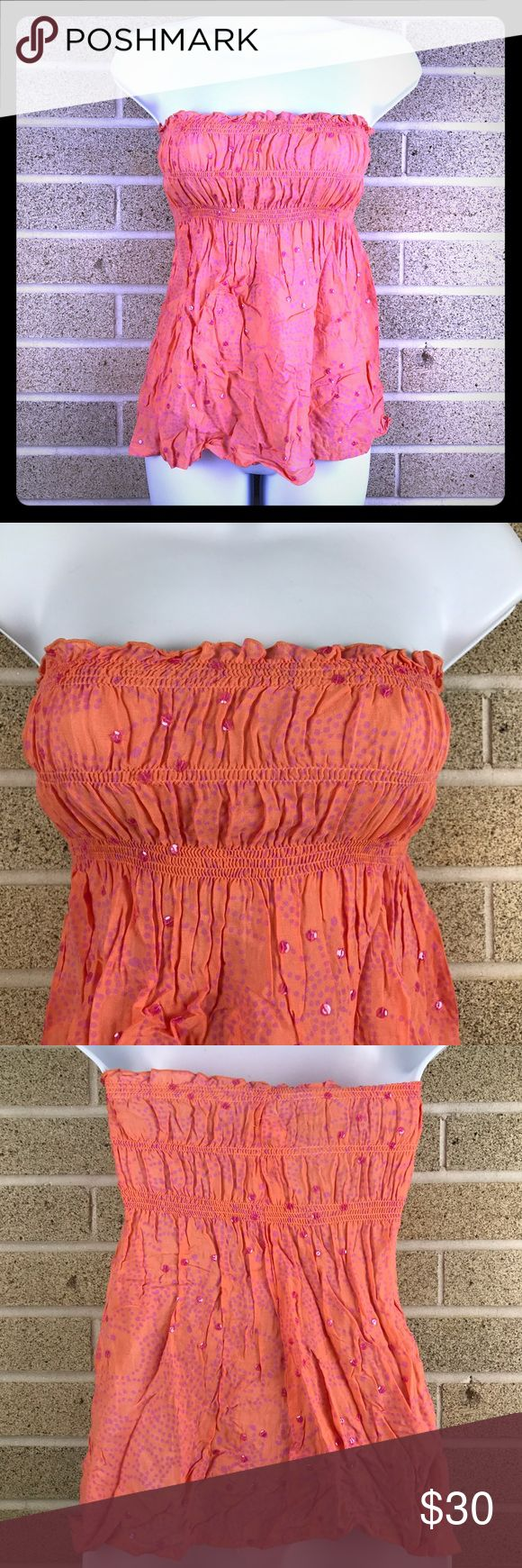 Sequined bandeau top Coolchange Orange sequins bandeau top coolchange Tops
