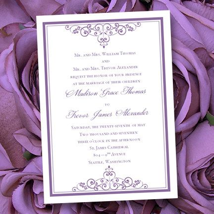 Purple Lavender Wedding Invitations Vintage  by WeddingTemplates, $8.00