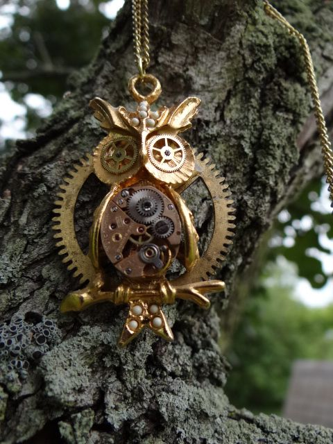 Steampunk owl necklace by Hiddendemon-666.deviantart.com on @deviantART