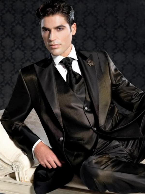 Guy in shiny black satin suit | Things to Wear | Pinterest ...
