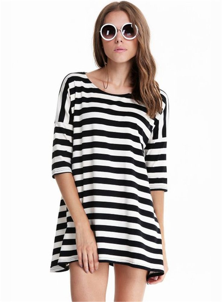 Sheinside® Women's Black and White Striped Batwing Long Sleeve T-shirt (Asian S, Striped)