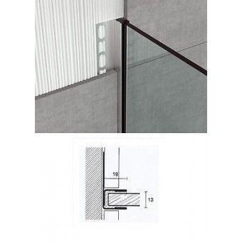Glas-Profil 1-tlg für Wand und Boden U-Winkelprofil Edelstahl 210 cm Glas Dusche