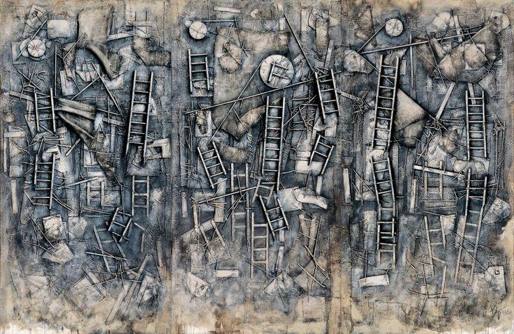Beppo Zuccheri www.beppozuccheri.com -My night on the Hydaspes River-  2012 - Cm 200 x 300 - Mixed media on canvas