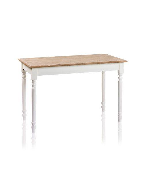Tavolo rettangolare in perfetto stile shabby chic, con gambe tornite color bianco. Un tavolo che arreda la tua cucina con gusto e semplicità.  Misure 120 x 60 x 81 cm