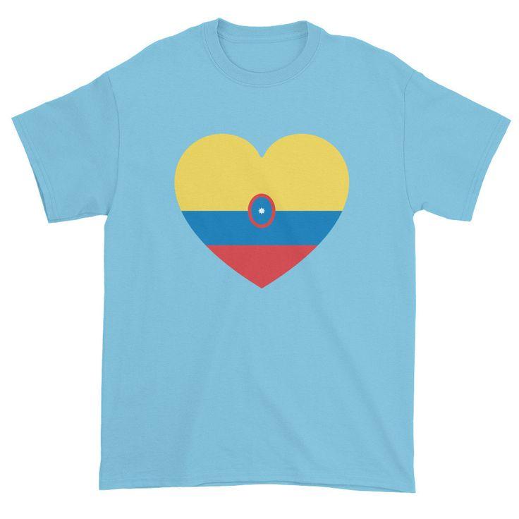 COLUMBIA FLAG HEART - Mens/Unisex short sleeve t-shirt