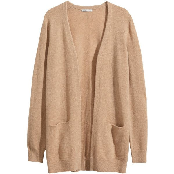 H&M Cashmere cardigan ($46) ❤ liked on Polyvore featuring tops, cardigans, outerwear, sweaters, jackets, camel, h&m cardigan, beige top, h&m tops and camel cardigan