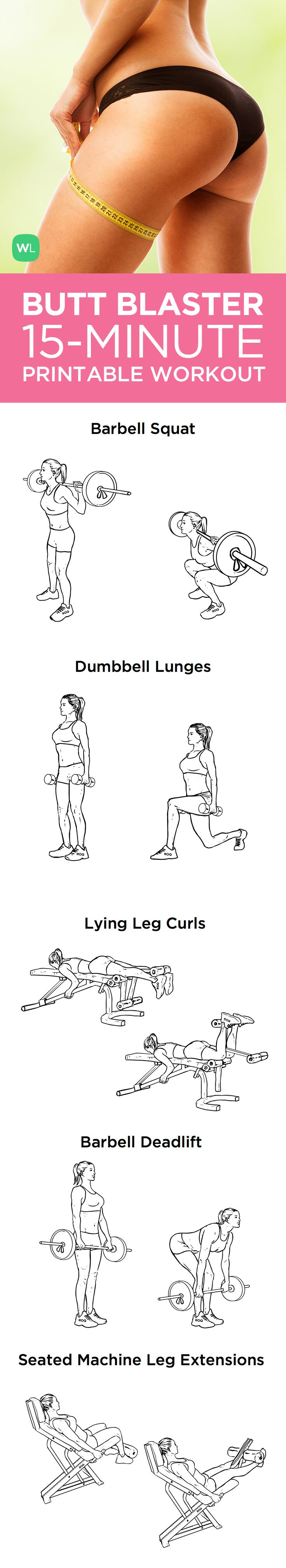15-Minute Butt Blaster Printable Workout for Sexy Toned Glutes and Thighs – Want to firm up your lower body? This workout is going to add sexy shape to your lower body and help give you a look that turns heads everywhere you go. ✳ Visit http://WorkoutLabs.com/workout-plans/butt-blaster-15-minute-workout-for-sexy-toned-glutes-thighs/