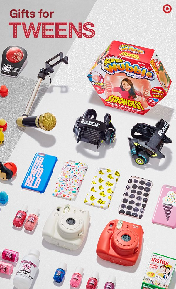 """What to give tweens? These ideas have you covered, from adorable stocking stuffers like Tsum Tsum Lip Smackers to the """"coolest gift ever."""" (Instax camera, anyone? It's a top gift.) Wrap up a Wubble Bubble ball, snap-on Heel Wheels, a selfie stick with a mic on the other end or spunky phone cases. There are fun beauty products made just for kids, too: Piggy Paint nail polishes are non-toxic, and Da Bomb bath fizzers are handmade by teenage sisters and have a surprise inside."""