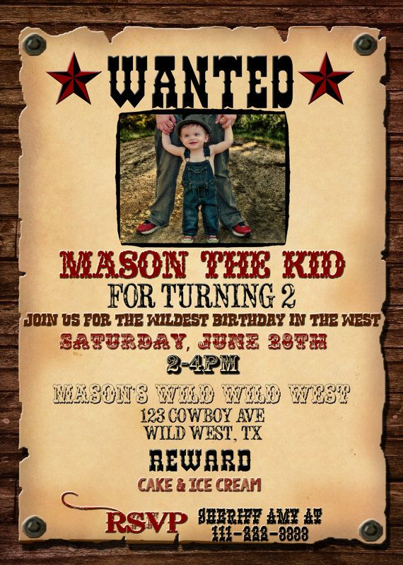 WANTED POSTER INVITATION, Western Birthday Invitation ...