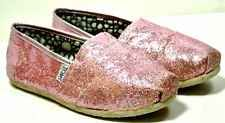 Women's TOMS Pink Glitter Classic Slip On Flats Shoes Size 6.5 ***VGC***