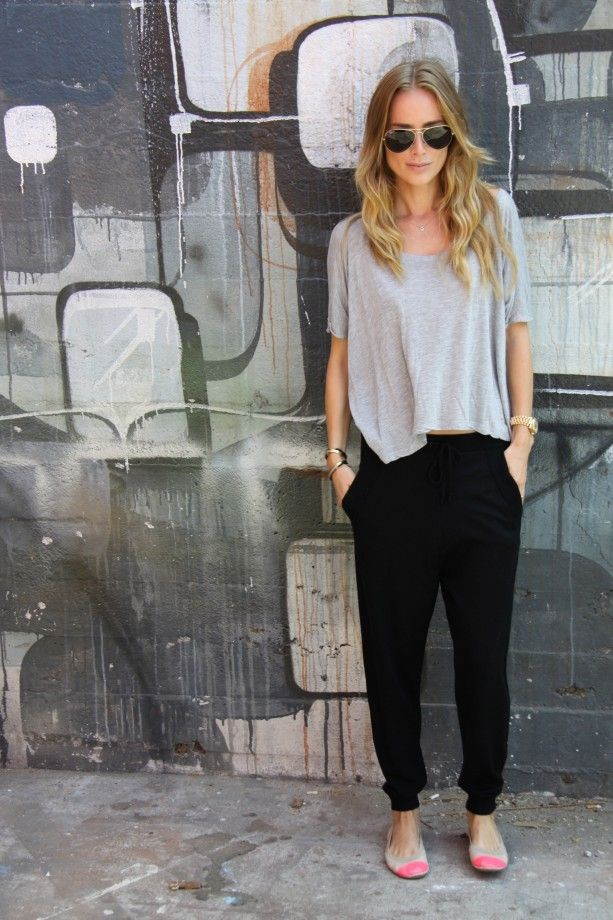 Get the look with CAbi fall '13 Bianca pants & grey Swag tee with fun flats