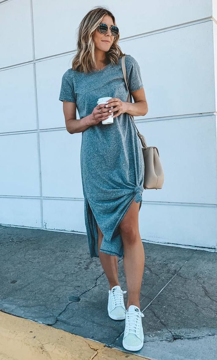 35 Awesome Summer Outfits You Ll Want To Copy Dress And Sneakers Outfit White Sneakers Outfit Summer White Sneakers Outfit [ 1171 x 709 Pixel ]