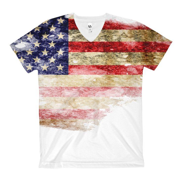 Vintage - American Flag - Women's V-Neck T-Shirt