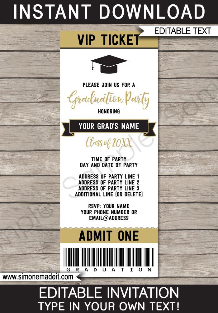 Printable Graduation Party Ticket Invitations - High School Graduation Announcements - Grad Party Ticket Invites - Editable Template - Instant Download - Tan / Bronze & Black #graduationparty #graduation #graduationticket