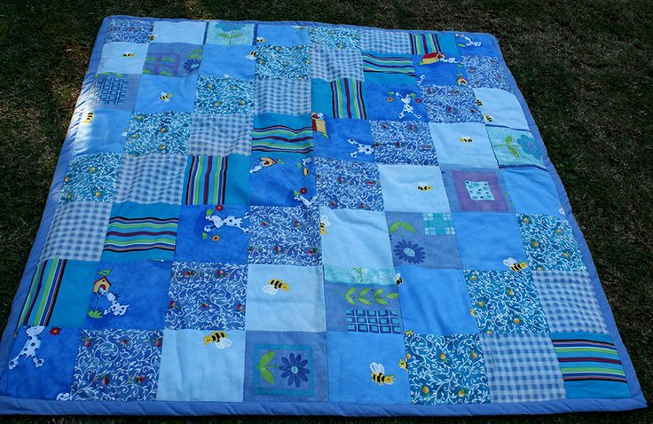 Patchwork Picnic Mat/Quilt in shades of blue facebook.com/totemteepee