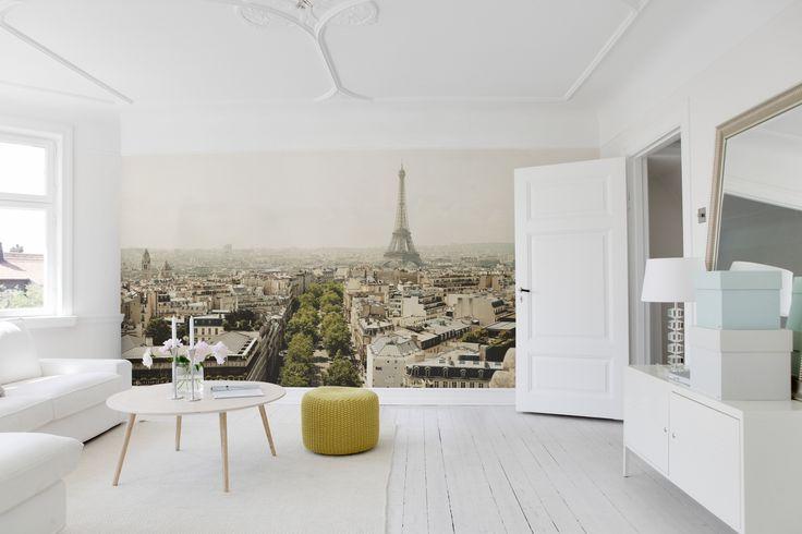 """Den romantiske byen, Paris, er selvsagt med i fototapetkolleksjonen """"City of Romance"""". www.mrperswall.no"""
