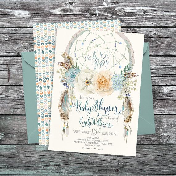 Dreamcatcher boho baby shower invitation. Digital printable files. Feathers, bohemian, watercolor, card, baby boy. Customised by me. 081CMP
