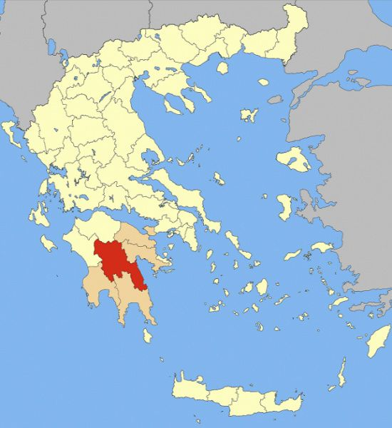 Locator map of Arcadia prefecture (Νομός Αρκαδίας) in Greece